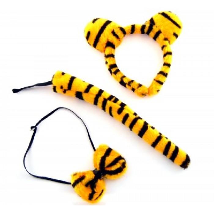 Карнавален комплект от три части - диадема, папийонка и опашка - тигър
