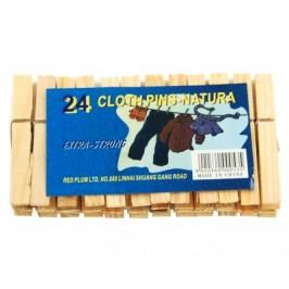 Комплект от 24 броя домакински щипки за простиране - дърво