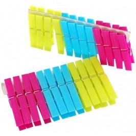Комплект от 24 броя домакински щипки за простиране - цветна пластмаса