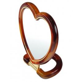 Двойно въртящо се огледало сърце - с една увеличителна страна и красива рамка