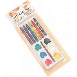 Комплект водни боички - шест цвята с четка и пастели - 6бр