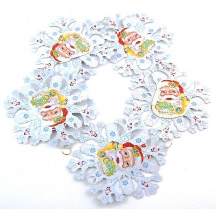 Гирлянд от 4 фигурки картон с двустранен цветен принт - снежинки с Дядо Коледа