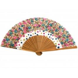 Луксозно сувенирно ветрило бамбук и сатен цветен принт - 21см