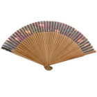 Луксозно сувенирно ветрило бамбук и фин текстил цветен принт - 23см