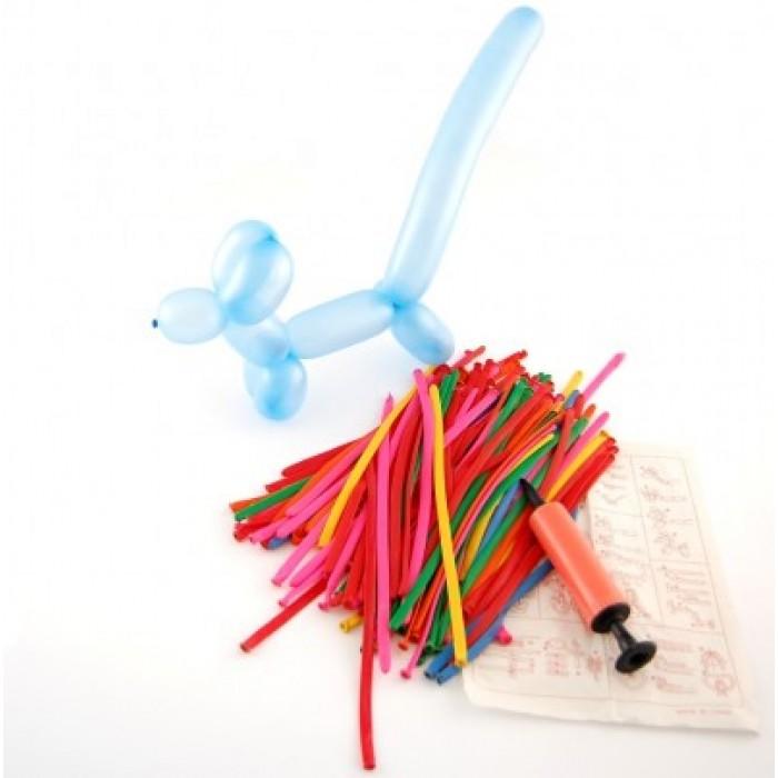 Различни цветове балони с помпа,подходящи за правене на фигурки - 100 броя в опаковка