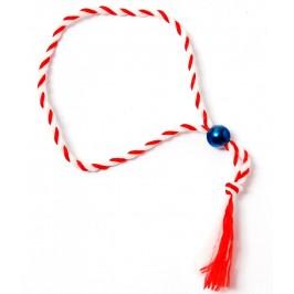 Мартеница - връзка усукани конци в бяло и червено с мънисто