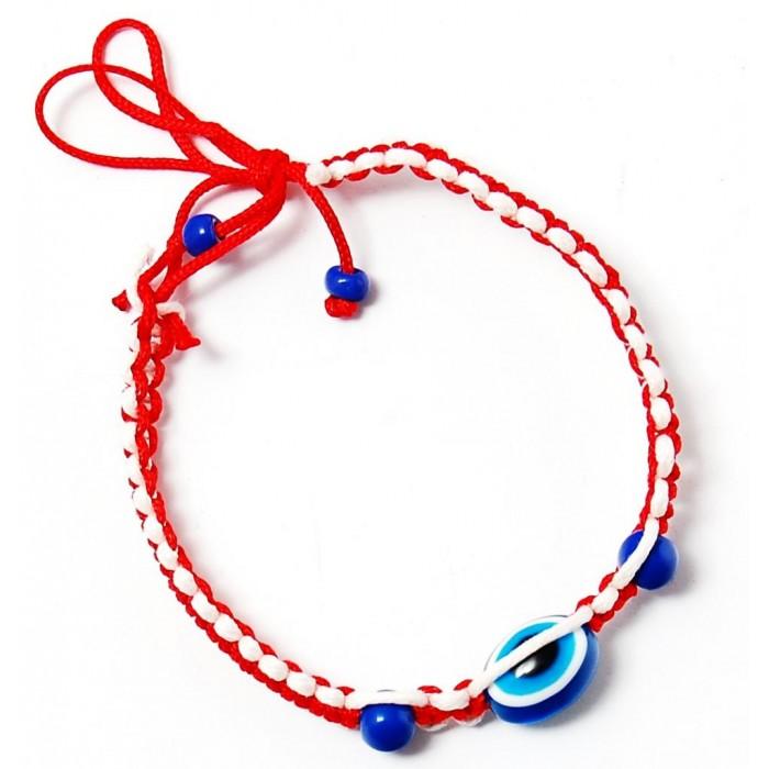 Мартеница плетена гривна с орнаменти и синьо око