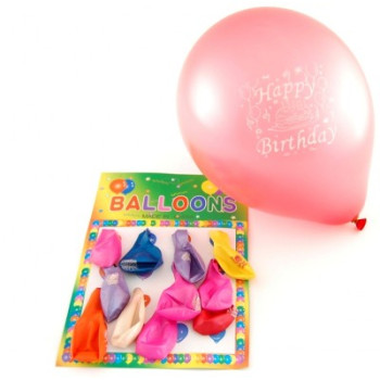 Различни цветове балони с надпис