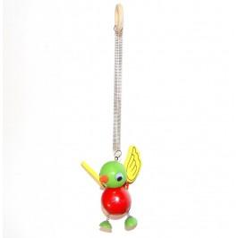 Декоративна дървена фигурка на пружина за закачане - 12см