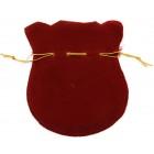 Луксозна подаръчна торбичка от нежно тъмно червено кадифе със златиста панделка за затягане