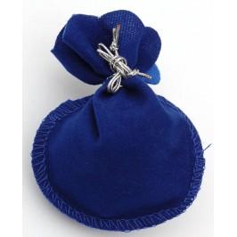 Луксозна подаръчна торбичка от нежно синьо кадифе със сребриста панделка за затягане