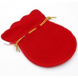 Луксозна подаръчна торбичка от нежно червено кадифе със златиста панделка за затягане