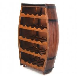 Декоративна поставка за вино - профил бъчва дърво, пет рафта с място за двадесет и четири бутилки
