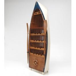 Декоративна поставка за вино - дървена лодка с гребла, четири рафта с място за четиринайсет бутилки