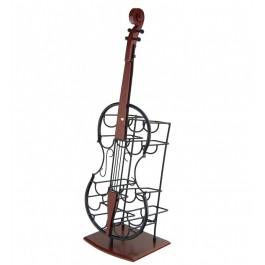 Декоративна поставка за вино виолончело - дърво и метал с място за десет бутилки