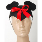 Двуцветна карнавална шапка с ушички и червена панделка