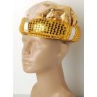 Красива ориенталска златиста шапка с бяло перо, подходяща за партита и за рожденни дни