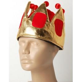 Красива карнавална кралска шапка в червено и златисто