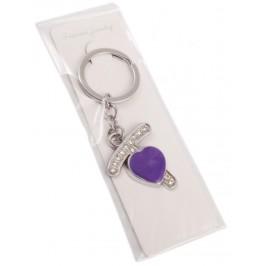 Сувенирен метален ключодържател - буква Т с декоративни камъчета и лилаво сърце