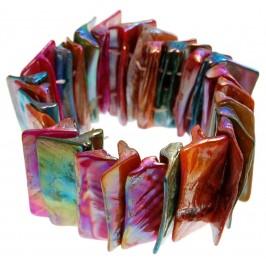 Гривна от плочки седеф на ластична основа - многоцветна