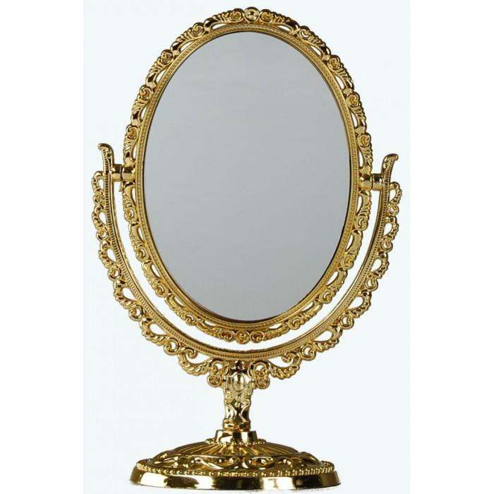 Красиво овално ретро огледало на стойка PVC - 14х10см