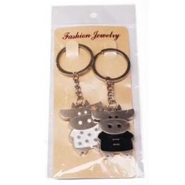 Два метални ключодържателя - мъжка и женска кравичка