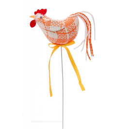 Декоративни Великденски кокошчици от коноп на метелен постамент - 25см