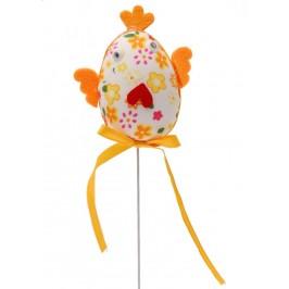 Декоративни Великденско пиленце от плат на метелен постамент - 25см