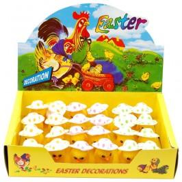 Декоративни фигурки Великденски пиленца с шапчица - 5см