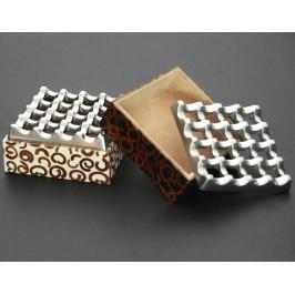 Сувенирен пепелник - дърво и метал с декоративен подвижен капак - 10см
