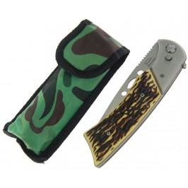 Сгъваем джобен нож с декоративна дръжка - автоматично отваряне и калъф