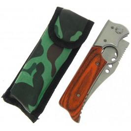Сгъваем джобен нож с декоративна дървена дръжка - автоматично отваряне и калъф