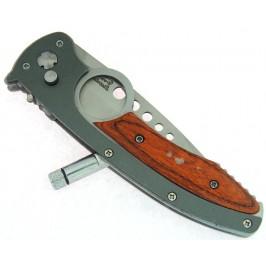 Сгъваем джобен нож с автоматично отваряне, фенер и калъф