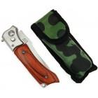 Сгъваем джобен нож с декоративна дръжка - автоматично отваряне, фенер и калъф