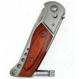 Сгъваем джобен нож с декоративна дървена дръжка - автоматично отваряне, фенер и калъф