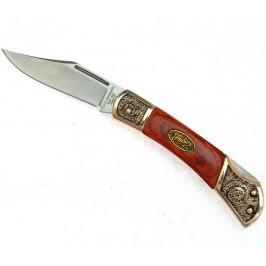 Сгъваем джобен нож с дървена дръжка, инкрустирана с метални цветя и калъф