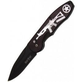 Сгъваем джобен нож с метална дръжка, гравирана с картинка