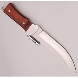 Ловен нож с дървена дръжка, фенер и калъф