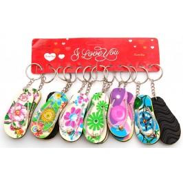 Сувенирен цветен ключодържател - джапанка - 9х6см