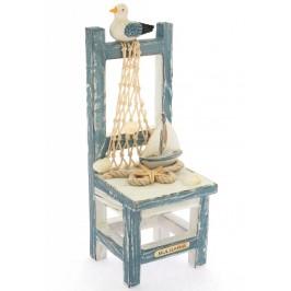 Сувенирна дървена фигурка - ретро столче с декоративни елементи - 15см