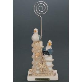 Сувенирна дървена фигурка - пристан с чайки - 12см