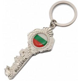 Сувенирен метален ключодържтел ключ с декоративен флаг и гравиран надпис - 11см