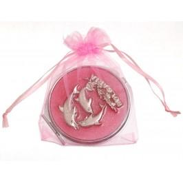 Сувенирно джобно огледало с метално декоративно капаче, делфини и надпис България