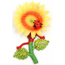 Сувенирна фигурка с магнит - слънчоглед с калинка -15см