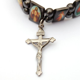 Гривна - 12 метални плочки с икони на ластична основа с кръст