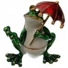 Декоративна метална кутийка за бижута - жабка с червен чадър