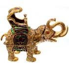 Декоративна метална кутийка за бижута - слон със седло