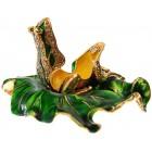Декоративна метална кутийка за бижута - жабка върху зелен лист от лилия