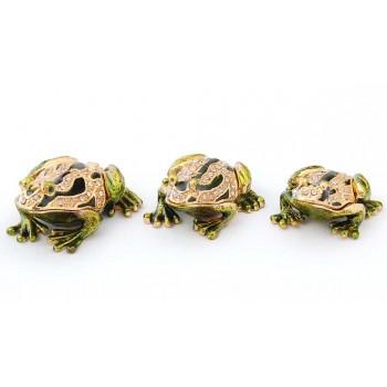 Комплект 3 броя кутийки за бижута във формата на жаби - фаберже