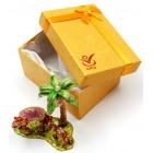 Декоративна метална кутийка за бижута - камила с малкото си до палма